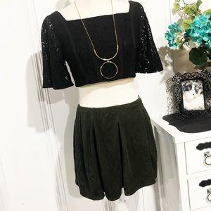 Brandy Melville Olive Skater Mini Skirt